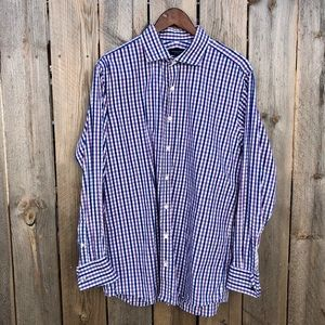 Proper Cloth   Check Plaid French Cuff Shirt L